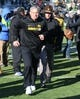 Nov 21, 2015; Iowa City, IA, USA; Iowa Hawkeyes head coach Kirk Ferentz leaves the field after beating the Purdue Boilermakers at Kinnick Stadium. Iowa beat Purdue 40-20. Mandatory Credit: Reese Strickland-USA TODAY Sports