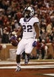 Nov 21, 2015; Norman, OK, USA; TCU Horned Frogs running back Aaron Green (22) runs for a touchdown during the second half against the Oklahoma Sooners at Gaylord Family - Oklahoma Memorial Stadium. Mandatory Credit: Kevin Jairaj-USA TODAY Sports