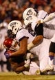 Nov 21, 2015; Norman, OK, USA; Oklahoma Sooners running back Samaje Perine (32) is gang tackled by the TCU Horned Frogs defense during the second half at Gaylord Family - Oklahoma Memorial Stadium. Mandatory Credit: Kevin Jairaj-USA TODAY Sports