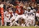 Nov 21, 2015; Norman, OK, USA; Oklahoma Sooners quarterback Trevor Knight (9) throws during the second half against the TCU Horned Frogs at Gaylord Family - Oklahoma Memorial Stadium. Mandatory Credit: Kevin Jairaj-USA TODAY Sports