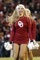 Nov 21, 2015; Norman, OK, USA; Oklahoma Sooners pom squad member performs during the game against the TCU Horned Frogs at Gaylord Family - Oklahoma Memorial Stadium. Mandatory Credit: Kevin Jairaj-USA TODAY Sports
