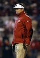 Nov 21, 2015; Norman, OK, USA; Oklahoma Sooners head coach Bob Stoops reacts during the game against the TCU Horned Frogs at Gaylord Family - Oklahoma Memorial Stadium. Mandatory Credit: Kevin Jairaj-USA TODAY Sports