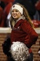 Nov 21, 2015; Norman, OK, USA; Oklahoma Sooners pom squad member during the game against the TCU Horned Frogs at Gaylord Family - Oklahoma Memorial Stadium. Mandatory Credit: Kevin Jairaj-USA TODAY Sports