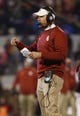 Nov 21, 2015; Norman, OK, USA; Oklahoma Sooners offensive Lincoln Riley during the game against the TCU Horned Frogs at Gaylord Family - Oklahoma Memorial Stadium. Mandatory Credit: Kevin Jairaj-USA TODAY Sports