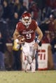 Nov 21, 2015; Norman, OK, USA; Oklahoma Sooners quarterback Trevor Knight (9) during the game against the TCU Horned Frogs at Gaylord Family - Oklahoma Memorial Stadium. Mandatory Credit: Kevin Jairaj-USA TODAY Sports