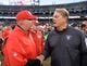 Dec 6, 2015; Oakland, CA, USA; Kansas City Chiefs head coach Andy Reid (left) shakes hands with Oakland Raiders head coach Jack Del Rio after an NFL football game at O.co Coliseum. The Chiefs defeated the Raiders 34-20. Mandatory Credit: Kirby Lee-USA TODAY Sports