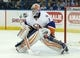 Nov 28, 2015; Tampa, FL, USA; New York Islanders goalie Thomas Greiss (1) defends during the second period of a hockey game against the Tampa Bay Lightning at Amalie Arena. Mandatory Credit: Reinhold Matay-USA TODAY Sports