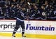 Dec 15, 2015; Winnipeg, Manitoba, CAN; Winnipeg Jets center Mark Scheifele (55) celebrates with teammates after he scores during the first period against the St. Louis Blues at MTS Centre. Mandatory Credit: Bruce Fedyck-USA TODAY Sports