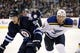 Dec 15, 2015; Winnipeg, Manitoba, CAN;  Winnipeg Jets center Mark Scheifele (55) battles St. Louis Blues center Paul Stastny (26) during the third period at MTS Centre. St. Louis Blues wins 4-3. Mandatory Credit: Bruce Fedyck-USA TODAY Sports