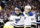 Dec 15, 2015; Winnipeg, Manitoba, CAN; St. Louis Blues left wing Alexander Steen (20) celebrates with teammate Vladimir Tarasenko (91) after he scored during the third period against the Winnipeg Jets at MTS Centre. St. Louis Blues wins 4-3. Mandatory Credit: Bruce Fedyck-USA TODAY Sports