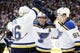 Dec 15, 2015; Winnipeg, Manitoba, CAN; St. Louis Blues left wing Alexander Steen (20) celebrates with teammates after he scores during the third period against the Winnipeg Jets at MTS Centre. St. Louis Blues wins 4-3. Mandatory Credit: Bruce Fedyck-USA TODAY Sports