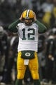 Dec 20, 2015; Oakland, CA, USA; Green Bay Packers quarterback Aaron Rodgers (12) reacts after a teammate suffered an injury against the Oakland Raiders in the fourth quarter at O.co Coliseum. The Packers defeated the Raiders 30-20. Mandatory Credit: Cary Edmondson-USA TODAY Sports