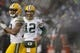 Dec 20, 2015; Oakland, CA, USA; Green Bay Packers quarterback Aaron Rodgers (12) smiles next to wide receiver Randall Cobb (18) during a break in the action against the Oakland Raiders in the fourth quarter at O.co Coliseum. The Packers defeated the Raiders 30-20. Mandatory Credit: Cary Edmondson-USA TODAY Sports