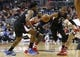 Dec 28, 2015; Washington, DC, USA; Los Angeles Clippers guard Chris Paul (3) chases a loose ball in front of Clippers center DeAndre Jordan (6) and Washington Wizards guard John Wall (2) in the second quarter at Verizon Center. The Clippers won 108-91. Mandatory Credit: Geoff Burke-USA TODAY Sports