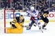 Feb 10, 2016; Pittsburgh, PA, USA; Pittsburgh Penguins goalie Marc-Andre Fleury (29) makes a save as New York Rangers center Derick Brassard (16) looks for a rebound and Penguins defenseman Brian Dumoulin (8) defends during the first period at the CONSOL Energy Center. Mandatory Credit: Charles LeClaire-USA TODAY Sports
