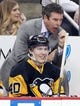 Feb 10, 2016; Pittsburgh, PA, USA; Pittsburgh Penguins center Oskar Sundqvist (40) and head coach Mike Sullivan react on the bench against the New York Rangers during the second period at the CONSOL Energy Center. The Rangers shutout the Penguins 3-0. Mandatory Credit: Charles LeClaire-USA TODAY Sports