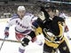 Feb 10, 2016; Pittsburgh, PA, USA; New York Rangers right wing Kevin Hayes (13) and Pittsburgh Penguins left wing Conor Sheary (43) chase the puck during the second period at the CONSOL Energy Center. The Rangers shutout the Penguins 3-0. Mandatory Credit: Charles LeClaire-USA TODAY Sports