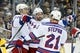 Feb 10, 2016; Pittsburgh, PA, USA; New York Rangers left wing Chris Kreider (20) and center Dominic Moore (C) and center Derek Stepan (21) celebrate after Moore scored a goal against the Pittsburgh Penguins during the third period at the CONSOL Energy Center. The Rangers shutout the Penguins 3-0. Mandatory Credit: Charles LeClaire-USA TODAY Sports