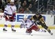 Feb 10, 2016; Pittsburgh, PA, USA; New York Rangers right wing Mats Zuccarello (36) chases the puck while being checked by Pittsburgh Penguins right wing Phil Kessel (81) during the third period at the CONSOL Energy Center. The Rangers shutout the Penguins 3-0. Mandatory Credit: Charles LeClaire-USA TODAY Sports