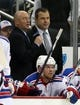 Feb 10, 2016; Pittsburgh, PA, USA; NHL network reporter Pierre McGuire (L) interviews New York Rangers head coach Alain Vigneault (R) on the bench during a time-out against the Pittsburgh Penguins in the second period at the CONSOL Energy Center. The Rangers won 3-0. Mandatory Credit: Charles LeClaire-USA TODAY Sports