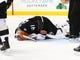 Mar 8, 2016; Brooklyn, NY, USA; New York Islanders goaltender Jaroslav Halak (41) lays on the ice after being injured late in the third period against the Pittsburgh Penguins at Barclays Center. Halak left the game and was replaced by goaltender Thomas Greiss (1). The Islanders defeated the Penguins 2-1. Mandatory Credit: Andy Marlin-USA TODAY Sports