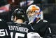 Mar 8, 2016; Brooklyn, NY, USA; New York Islanders goaltender Thomas Greiss (1) is congratulated by right wing Cal Clutterbuck (15) after defeating the Pittsburgh Penguins 2-1 at Barclays Center.   Mandatory Credit: Andy Marlin-USA TODAY Sports