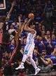 Apr 29, 2016; Charlotte, NC, USA; Charlotte Hornets forward center Al Jefferson (25) moves to the basket and shoots during the second half in game six of the first round of the NBA Playoffs against the Miami Heat at Time Warner Cable Arena. Heat win 97-90. Mandatory Credit: Sam Sharpe-USA TODAY Sports