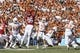 Oct 8, 2016; Dallas, TX, USA; Texas Longhorns quarterback Shane Buechele (7) throws a pass in the first quarter against the Oklahoma Sooners  at Cotton Bowl. Mandatory Credit: Tim Heitman-USA TODAY Sports