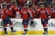 Oct 15, 2016; Washington, DC, USA; Washington Capitals left wing Daniel Winnik (26) celebrates with teammates after scoring a goal against the New York Islanders in the second period at Verizon Center. Mandatory Credit: Geoff Burke-USA TODAY Sports