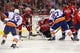 Oct 15, 2016; Washington, DC, USA; Washington Capitals goalie Braden Holtby (70) makes a save on New York Islanders left wing Anders Lee (27) in the second period at Verizon Center. Mandatory Credit: Geoff Burke-USA TODAY Sports