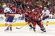Oct 15, 2016; Washington, DC, USA; Washington Capitals right wing Justin Williams (14) skates with the puck past New York Islanders right wing Ryan Strome (18) in the third period at Verizon Center. The Capitals won 2-1. Mandatory Credit: Geoff Burke-USA TODAY Sports