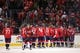 Oct 15, 2016; Washington, DC, USA; Washington Capitals players celebrate after their game against the New York Islanders at Verizon Center. The Capitals won 2-1. Mandatory Credit: Geoff Burke-USA TODAY Sports