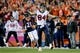Oct 24, 2016; Denver, CO, USA; Houston Texans tight end Ryan Griffin (84) reacts after a play against Denver Broncos cornerback Aqib Talib (21) in the fourth quarter against the Denver Broncos at Sports Authority Field at Mile High. The Broncos won 27-9. Mandatory Credit: Isaiah J. Downing-USA TODAY Sports
