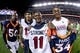 Oct 24, 2016; Denver, CO, USA; (from left to right); Denver Broncos linebacker Zaire Anderson (50) and Houston Texans wide receiver Will Fuller (15) and defensive back Will Parks (34) and wide receiver Jaelen Strong (11) poses for a picture after the game at Sports Authority Field at Mile High. The Broncos won 27-9. Mandatory Credit: Isaiah J. Downing-USA TODAY Sports