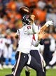 Oct 24, 2016; Denver, CO, USA; Houston Texans quarterback Brock Osweiler (17) fumbles the football in the second half against the Denver Broncos at Sports Authority Field at Mile High. The Broncos defeated the Texans 27-9. Mandatory Credit: Ron Chenoy-USA TODAY Sports