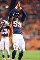 Oct 24, 2016; Denver, CO, USA; Denver Broncos outside linebacker Von Miller (58) dances during a timeout in the second half against the Houston Texans at Sports Authority Field at Mile High. The Broncos defeated the Texans 27-9. Mandatory Credit: Ron Chenoy-USA TODAY Sports