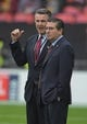 Oct 30, 2016; London, United Kingdom; Washington Redskins owner Daniel Snyder (right) and president Bruce Allen during game 17 of the NFL International Series against the Cincinnati Bengals at Wembley Stadium. Mandatory Credit: Kirby Lee-USA TODAY Sports