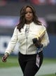 Oct 30, 2016; London, United Kingdom; Fox Sports sideline reporter Pam Oliver during game 17 of the NFL International Series between the Cincinnati Bengals and the Washington Redskins at Wembley Stadium. Mandatory Credit: Kirby Lee-USA TODAY Sports
