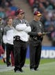 Oct 30, 2016; London, United Kingdom; Washington Redskins coach Jay Gruden (left) and quarterbacks coach Matt Cavanauh react during game 17 of the NFL International Series at Wembley Stadium. The Redskins and Bengals tied 27-27. Mandatory Credit: Kirby Lee-USA TODAY Sports