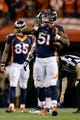 Oct 24, 2016; Denver, CO, USA; Denver Broncos inside linebacker Todd Davis (51) celebrates after recovering a fumble in the third quarter against the Houston Texans at Sports Authority Field at Mile High. Mandatory Credit: Isaiah J. Downing-USA TODAY Sports