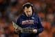 Oct 24, 2016; Denver, CO, USA; Denver Broncos head coach Gary Kubiak looks at his play card in the third quarter against the Houston Texans at Sports Authority Field at Mile High. The Broncos won 27-9. Mandatory Credit: Isaiah J. Downing-USA TODAY Sports