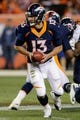 Oct 24, 2016; Denver, CO, USA; Denver Broncos quarterback Trevor Siemian (13) looks to hand off the ball in the fourth quarter against the Houston Texans at Sports Authority Field at Mile High. Mandatory Credit: Isaiah J. Downing-USA TODAY Sports