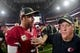 Nov 13, 2016; Glendale, AZ, USA;  Arizona Cardinals quarterback Carson Palmer (3) talks with San Francisco 49ers head coach Chip Kelly after the game at University of Phoenix Stadium. Mandatory Credit: Matt Kartozian-USA TODAY Sports
