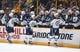 Nov 25, 2016; Nashville, TN, USA; Winnipeg Jets players celebrate after a goal by Winnipeg Jets defenseman Dustin Byfuglien (33) during the first period against the Nashville Predators at Bridgestone Arena. Mandatory Credit: Christopher Hanewinckel-USA TODAY Sports