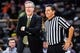 Dec 5, 2016; Iowa City, IA, USA; Iowa Hawkeyes head coach Fran McCaffery talks with an official during the second half against the Stetson Hatters at Carver-Hawkeye Arena. Iowa won 95-68. Mandatory Credit: Jeffrey Becker-USA TODAY Sports