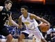 Dec 17, 2016; Berkeley, CA, USA; California Golden Bears forward Ivan Rabb (1) dribbles against Cal Poly Mustangs forward Aleks Abrams (1) in the first period at Haas Pavilion. Mandatory Credit: John Hefti-USA TODAY Sports
