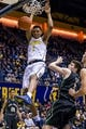 Dec 17, 2016; Berkeley, CA, USA; California Golden Bears forward Ivan Rabb (1) dunks the ball against the Cal Poly Mustangs in the second period at Haas Pavilion. Cal won 81-55. Mandatory Credit: John Hefti-USA TODAY Sports