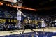Dec 17, 2016; Berkeley, CA, USA;  California Golden Bears guard Grant Mullins (3) dunks the ball as Cal Poly Mustangs guard Trevor John (2) watches in the second period at Haas Pavilion. Cal won 81-55. Mandatory Credit: John Hefti-USA TODAY Sports