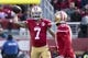 January 1, 2017; Santa Clara, CA, USA; San Francisco 49ers quarterback Colin Kaepernick (7) passes the football to wide receiver Jeremy Kerley (17) against the Seattle Seahawks during the first quarter at Levi's Stadium. Mandatory Credit: Kyle Terada-USA TODAY Sports