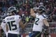 January 1, 2017; Santa Clara, CA, USA; Seattle Seahawks tight end Luke Willson (82) celebrates with wide receiver Jermaine Kearse (15) after scoring a touchdown against the San Francisco 49ers during the second quarter at Levi's Stadium. Mandatory Credit: Kyle Terada-USA TODAY Sports